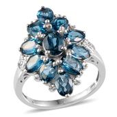 London Blue Topaz, Diamond Platinum Over Sterling Silver Ring (Size 9) TDiaWt 0.01 cts, TGW 6.310 cts.