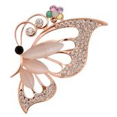 Simulated Cats Eye, Austrian Crystal Goldtone Butterfly Brooch