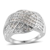 Diamond Platinum Over Sterling Silver Ring (Size 7.0) TDiaWt 0.33 cts, TGW 0.33 cts.