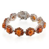 Baltic Amber, Santa Ana Madeira Citrine Platinum Over Sterling Silver Bracelet (7.25 In) TGW 21.60 cts.