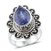 Artisan Crafted Rough Cut Tanzanite (Pear) Ring in Sterling Silver Nickel Free (Size 7.0) TGW 5.530 cts.