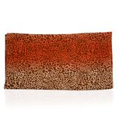 J Francis - Orange and White 100% Polyester Leopard Printed Scarf (27x14 in)