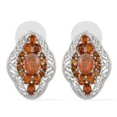 Madras Sunstone, Santa Ana Madeira Citrine Platinum Over Sterling Silver Earrings TGW 5.850 cts.