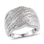 Diamond Platinum Over Sterling Silver Ring (Size 10.0) TDiaWt 0.53 cts, TGW 0.525 cts.