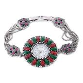STRADA Multi Color Austrian Crystal Japanese Movement Bracelet Watch in Stainless Steel