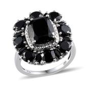 Thai Black Spinel (Oct 3.00 Ct) Ring in Platinum Overlay Sterling Silver Nickel Free (Size 8) TGW 11.95Cts.