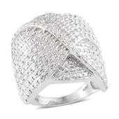 Diamond Platinum Over Sterling Silver Ring (Size 8.0) TDiaWt 0.50 cts, TGW 0.500 cts.