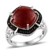 Red Jade, Black Diamond Platinum Over Sterling Silver Ring (Size 9) TGW 6.77 cts.