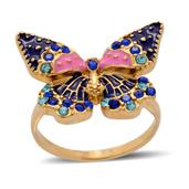 Creature Couture - Butterfly Ring with Blue Austrian Crystal in ION Plated YG Stainless Steel (Size 6)
