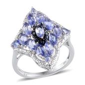 Tanzanite, Blue Diamond, Diamond Platinum Over Sterling Silver Ring (Size 5.0) TDiaWt 0.03 cts, TGW 3.180 cts.