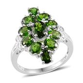 Russian Diopside (Ovl 0.85 Ct), Diamond Ring in Platinum Overlay Sterling Silver Nickel Free (Size 5) TDiaWt 0.010Cts., TGW 5.06 Cts.