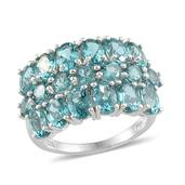 Madagascar Paraiba Apatite Platinum Over Sterling Silver Ring (Size 9.0) TGW 7.720 cts.