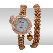 GENOA Simulated Golden Pearl, Austrian Crystal Miyota Japanese Movement Wrap Watch in Rosetone with Stainless Steel Back