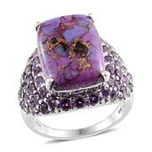 Mojave Purple Turquoise, Amethyst Platinum Over Sterling Silver Ring (Size 9.0) TGW 15.75 cts.