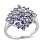 Tanzanite, Diamond Platinum Over Sterling Silver Ring (Size 6.0) TGW 3.47 cts.