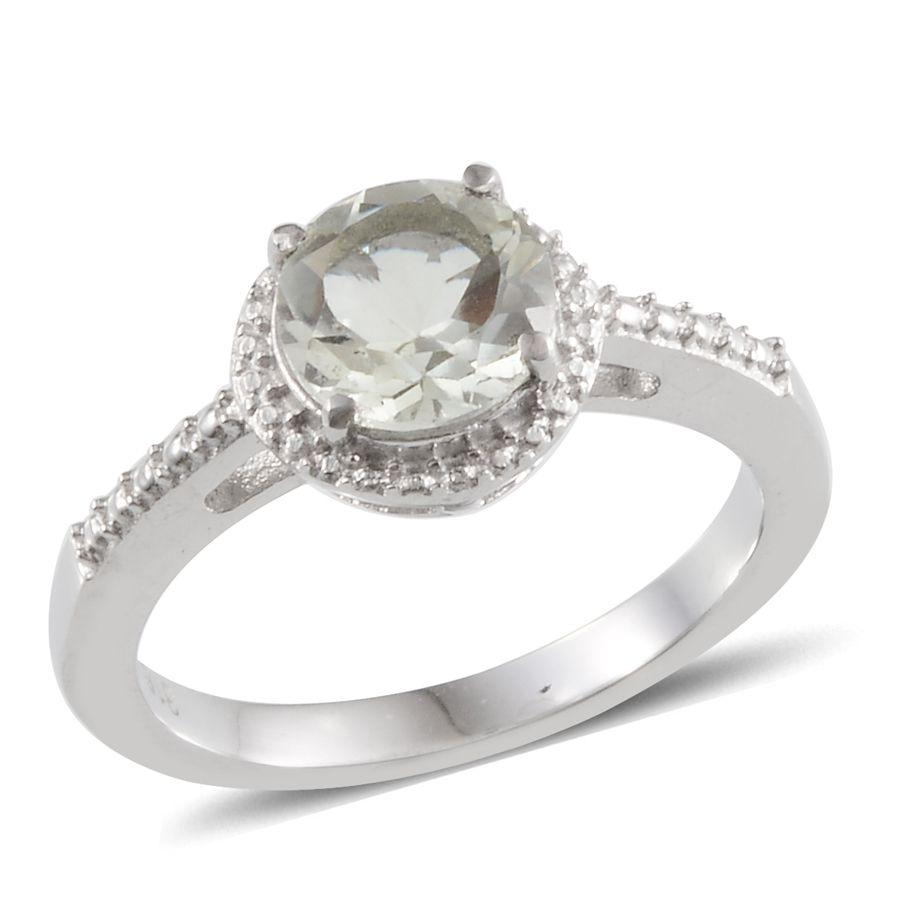 Green Amethyst (Rnd) Ring in Stainless Steel (Size 7) TGW 4.00 Cts.