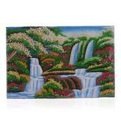 Waterfalls Green Jade, Citrine, Garnet and Multi Gemstone Artwork (12x8 in)
