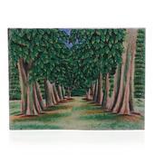 Summer Trees Jade, Citrine, Crystal Quartz, Multi Gemstone Artwork (16x12 in)