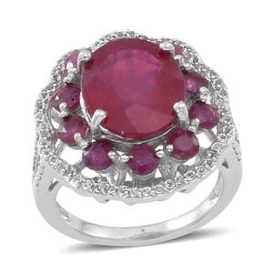 Niassa Ruby, White Topaz Sterling Silver Ring (Size 7.0) TGW 8.920 cts.