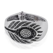 STRADA Black Austrian Crystal Japanese Movement Bangle Watch in Silvertone with Stainless Steel Back
