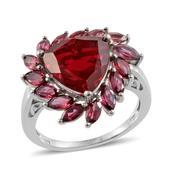 Blazing Red Quartz, Orissa Rhodolite Garnet Platinum Over Sterling Silver Ring (Size 10.0) TGW 8.400 cts.
