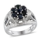 Kanchanaburi Blue Sapphire, Diamond Platinum Over Sterling Silver Open Shank Ring (Size 8.0) TDiaWt 0.02 cts, TGW 3.420 cts.