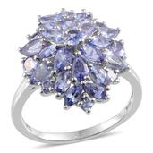 Tanzanite Ring in Platinum Overlay Sterling Silver Nickel Free (Size 9.0) TGW 4.435 cts.