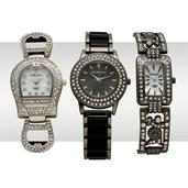 STRADA Austrian Crystal Japanese Movement Set of 3 Watches with Stainless Steel Backs, Black and Dark Silvertone Bands