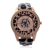 STRADA Austrian Crystal Japanese Movement Watch with Blue Leopard Print Band and Stainless Steel Back