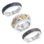 Black, Blue, White and Yellow Diamond Platinum Over Sterling Silver Set of 3 Interchangeable Rings (Size 5.0) TDiaWt 0.50 cts, TGW 0.500 cts.