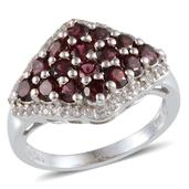 Pyrope Garnet, White Topaz Platinum Over Sterling Silver Ring (Size 6.0) TGW 2.80 cts.