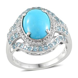 Arizona Sleeping Beauty Turquoise, Electric Blue Topaz, White Topaz Platinum Over Sterling Silver Ring (Size 8.0) TGW 5.650 cts.