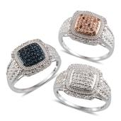 Multi Color Diamond Platinum Over Sterling Silver Set of 3 Rings (Size 5) TDiaWt 0.50 cts, TGW 0.50 cts.