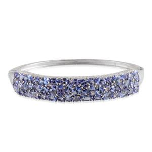 Tanzanite Platinum Over Sterling Silver Bangle (7.5 in) TGW 15.10 Cts.