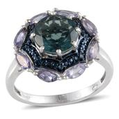 Belgian Teal Fluorite (Rnd 3.40 Ct), Tanzanite, Blue Diamond Ring in Platinum Overlay Sterling Silver Nickel Free (Size 10) TDiaWt 0.040Cts., TGW 4.44 Cts.