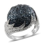 Blue Diamond (IR), Diamond Platinum Over Sterling Silver Ring (Size 6.0) TDiaWt 0.50 cts, TGW 0.500 cts.