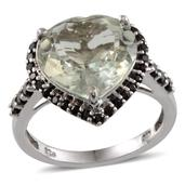 Green Amethyst, Thai Black Spinel Platinum Over Sterling Silver Ring (Size 6.0) TGW 8.990 cts.