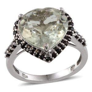 Green Amethyst, Thai Black Spinel Platinum Over Sterling Silver Ring (Size 7.0) TGW 8.990 cts.