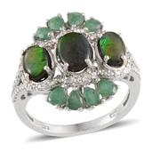 Canadian Ammolite, Kagem Zambian Emerald, Diamond Platinum Over Sterling Silver Ring (Size 10.0) TDiaWt 0.03 cts, TGW 4.080 cts.