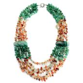 Red and Green Agate, Green Glass Necklace (22 in) in Silvertone TGW 300.001 cts.