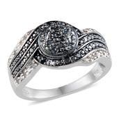Blue Diamond (IR), Diamond Platinum Over Sterling Silver Ring (Size 6.0) TDiaWt 0.25 cts, TGW 0.250 cts.
