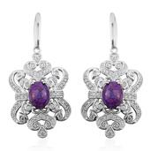 Mojave Purple Turquoise, Cambodian Zircon Platinum Over Sterling Silver Earrings TGW 5.841 Cts.