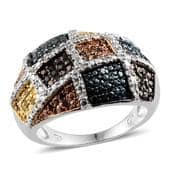 Blue, Green, Red, White and Yellow Diamond Platinum Over Sterling Silver Ring (Size 7.0) TDiaWt 0.50 cts, TGW 0.500 cts.