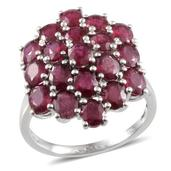 Niassa Ruby Platinum Over Sterling Silver Cluster Ring (Size 10.0) TGW 10.650 cts.