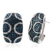 Blue Diamond (IR), Diamond Platinum Over Sterling Silver Earrings TDiaWt 0.33 cts, TGW 0.335 cts.