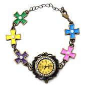 STRADA Austrian Crystal Japanese Movement Multi Color Enameled Bracelet Watch in Goldtone with Stainless Steel Back (6.5-9 In)