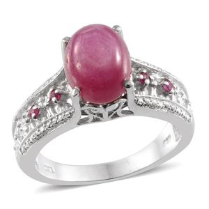 Kenyan Ruby, Ruby Platinum Over Sterling Silver Ring (Size 7.0) TGW 8.410 cts.