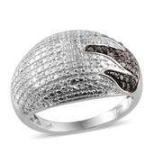 Black Diamond (IR), Diamond Platinum Over Sterling Silver Dome Ring (Size 9.0) TDiaWt 0.33 cts, TGW 0.33 cts.
