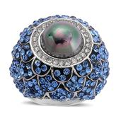 Shell Pearl, Blue Austrian Crystal Ring in Stainless Steel (Size 8) TGW 0.003 cts.