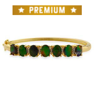 Canadian Ammolite, White Topaz 14K YG Over Sterling Silver Bangle (6.5 in) TGW 8.65 Cts.